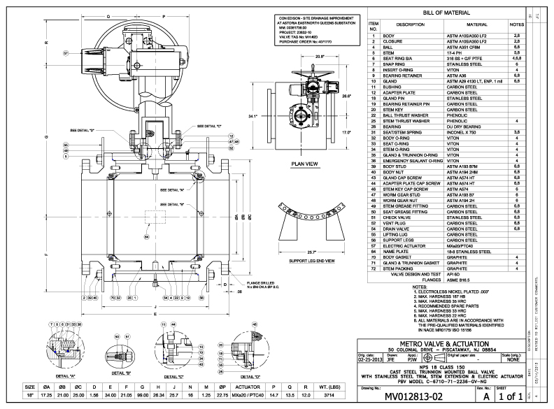 metro valve  u0026 actuation   as built drawings